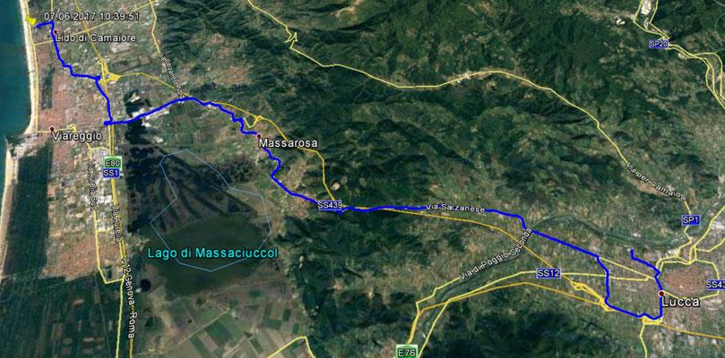 Route von Lucca nach Viareggio