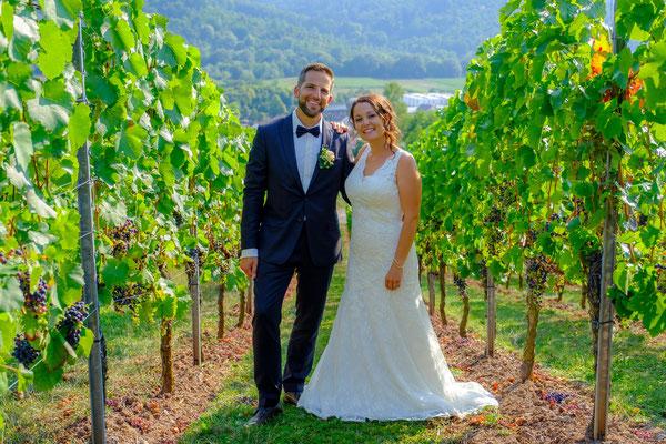 Brautpaar in den Weinbergen Rohrbronn im Remstal