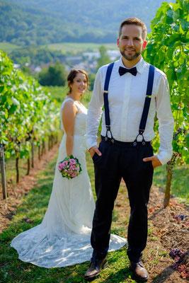 Braut und Bräutigam in den Weinbergen Remshalden