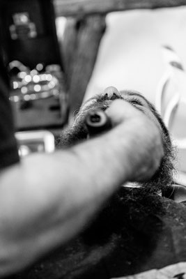 Bart schneiden beim Barber