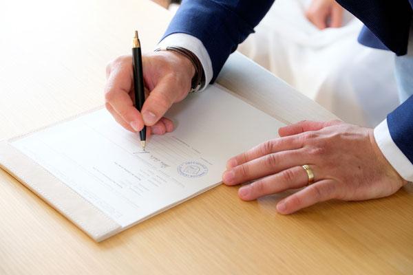 Unterschrift Bräutigam
