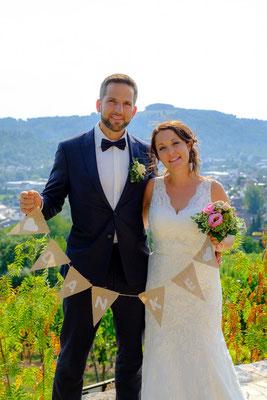Brautpaar Weinberger Rohrbronn mit Danke