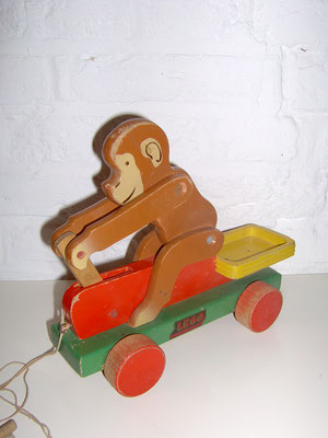 LEGO wood pull toy monkey cart early 1950's