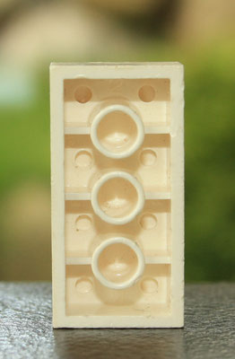 Only known 2x4 brick with 3 cross supports. K2 mould in soft CA. 1950's