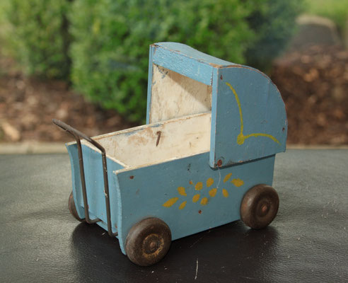 LEGO wood 1940's baby carriage blue rare