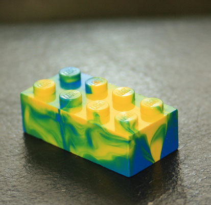 LEGO marbled yellow / blue 3001