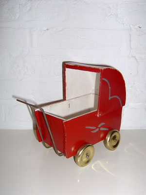 LEGO wood 1940's baby carriage red rare