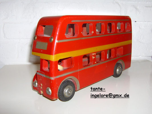 LEGO wood double-decker bus 1950's