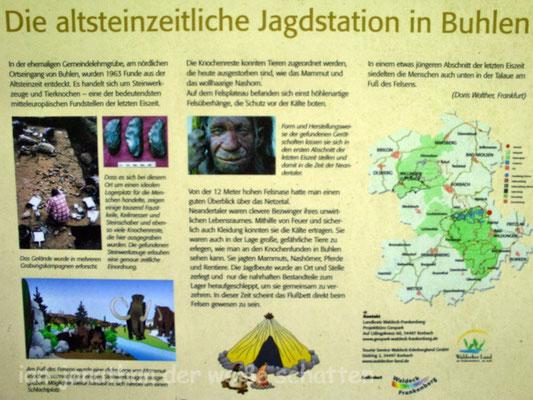 """hier ein Hinweis auf das """"Neandertaler-Dorf"""" Buhlen"""