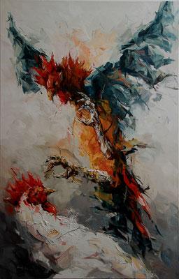 Hahnenkampf, Ölbild