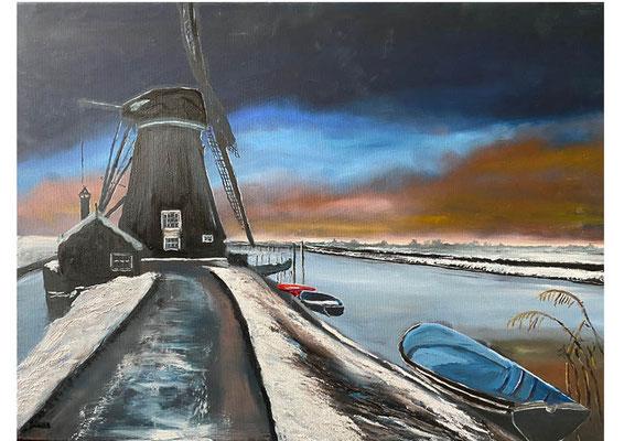 Winter, olieverf, 60x90 cm