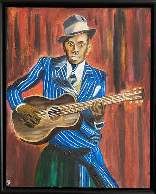 Robert Johnson, blueslegende, olieverf, 40x50cm