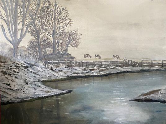 Koeien in de mist, olieverf, 60x90cm