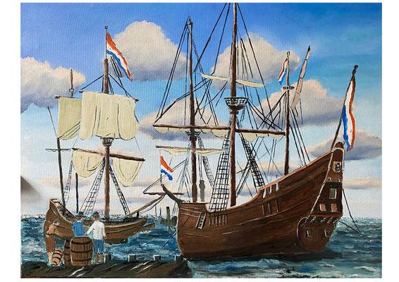 Op de rede van Amsterdam, olieverf, 60x90 cm