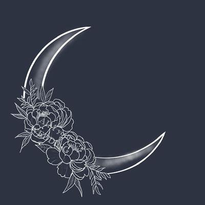 maan met outline rozen voor op een trouwjasje