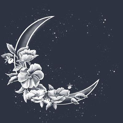 maan met witte bloemen to the moon