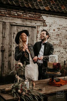 leren jasje voor de bruid