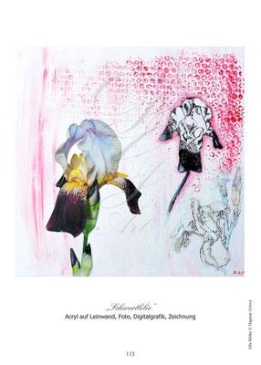 """""""Schwertlilie"""", Acryl auf Leinwand, Fotokollage"""