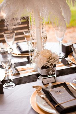 20er Jahre Wedding Shooting - Standesamtliche Trauung - Tischdekoration