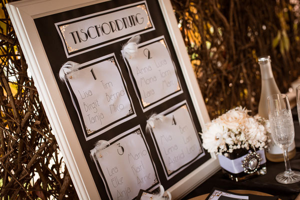 20er Jahre Wedding Shooting - Standesamtliche Trauung - Tischordnung