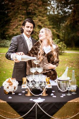 20er Jahre Wedding Shooting - Standesamtliche Trauung - Sektempfang