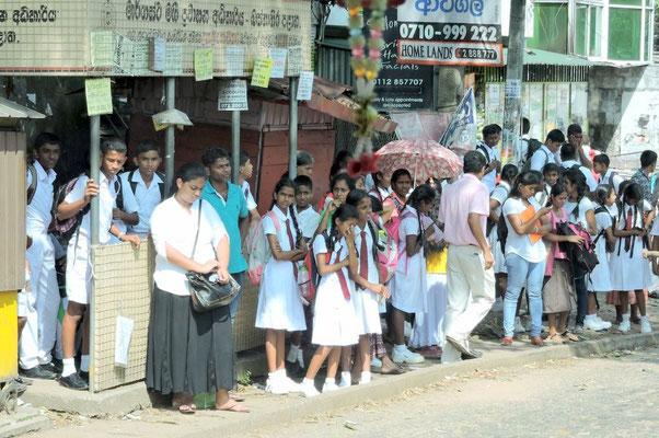 Schulkinder warten auf den Bus