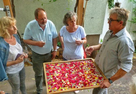 beim Andert mit Rosenblüten Trocknung
