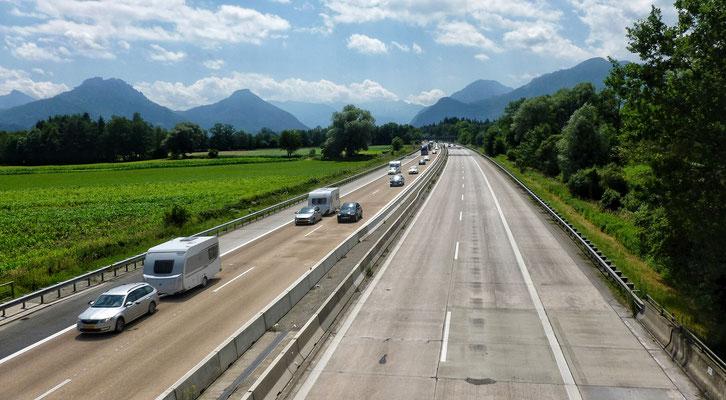 Über die Autobahn München - Innsbruck