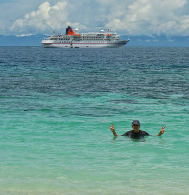 Baden auf Pulau Kebari
