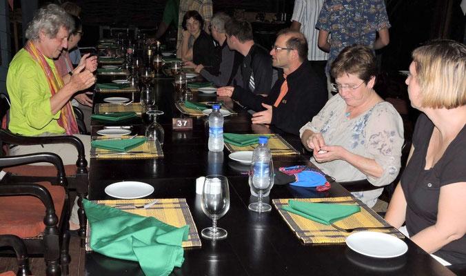 Abendessen mit der Gruppe