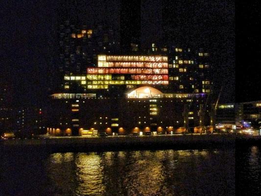 Nächtliche Einfahrt in Hamburg