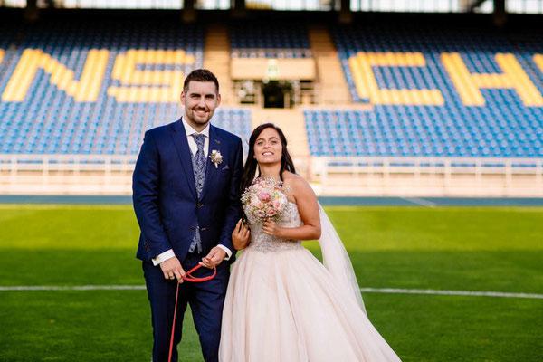 Brautpaarshooting im Eintracht Stadion