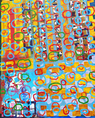 Druck-Collage (Papier auf Leinwand) 60x70cm 500,-€