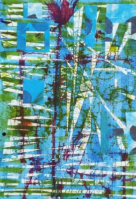 Décollage, Tinte auf weißem Passepartoutkarton (20cm x 28,5cm) 150,-€