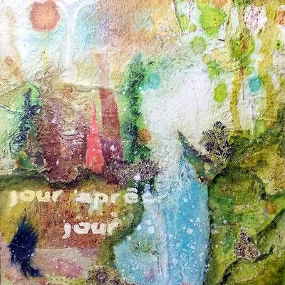 Collage sur papier - techniques mixtes (13x13 cm environ - 15€) - @B. Dupuis