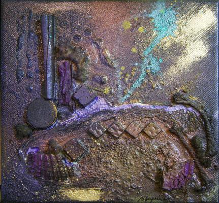 Balade au clair de lune - 1 (20x20cm sur toile - vendu) ©B.Dupuis