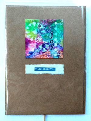 Carte de voeux & enveloppe kraft avec inclusion de mini peinture en mix-média - 4€ pièce @B.Dupuis