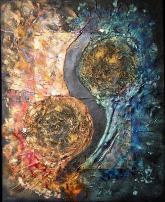 Rencontres Alchimiques (mixte sur toile - 61x50 cm - vendu) ©B.Dupuis