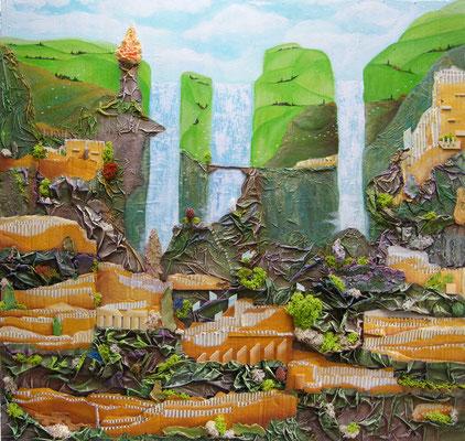 Jardins Suspendus - Mixte sur toile (100x100 cm - 1000€) @B. Dupuis