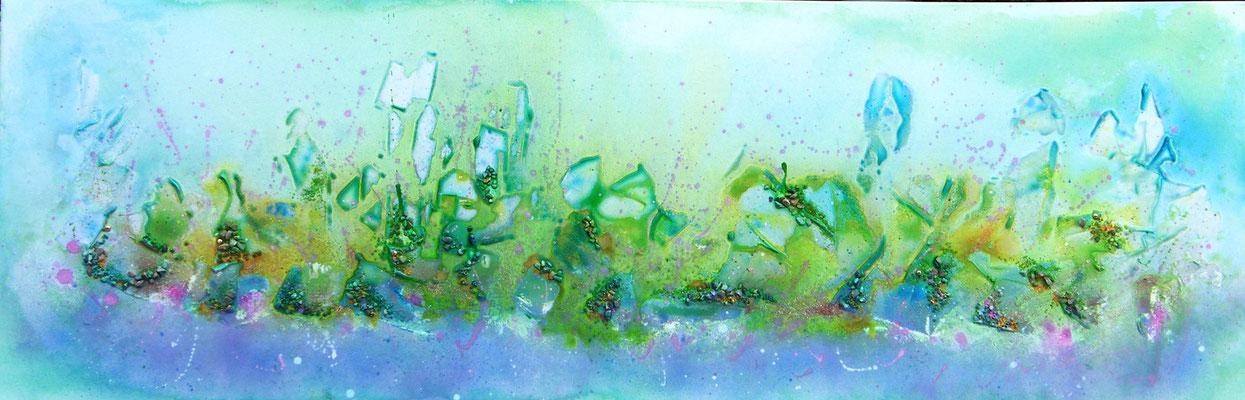 Paysage abstrait - encre sur toile (50x150cm - vendu) - © B. Dupuis