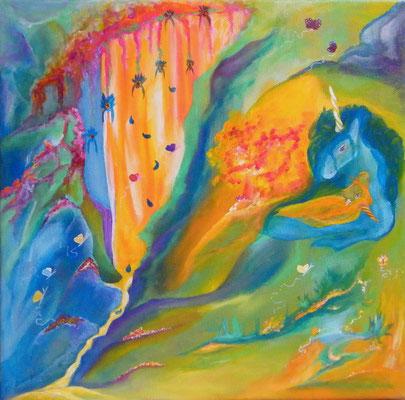 Songe de Licornes - Acrylique sur toile (30x30cm - 80€) ©B.Dupuis