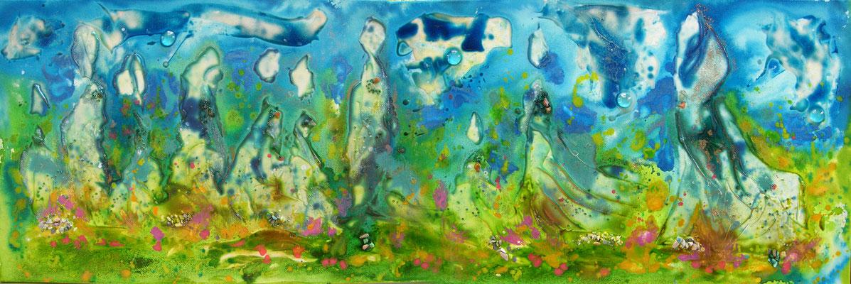 Les Pélerins du Printemps - encre sur toile (50x120 cm - 480€) - © B. Dupuis
