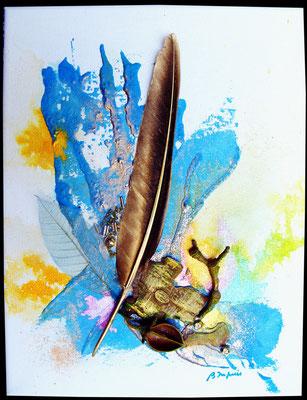 La plume d'Or - Mixte sur toile (collection privée) ©B.Dupuis