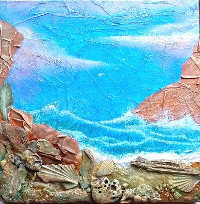 Eté - Recycl'Art sur toile (mixte sur toile 40x40 3D - 130€) - ©B.Dupuis 2019