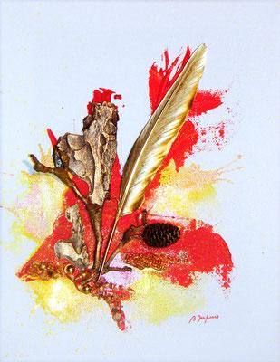La plume d'Or - Mixte sur toile (vendu) ©B.Dupuis