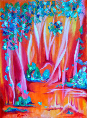 Forêt Ardente  (Huile sur toile 24x30 cm - 120€) - © B. Dupuis
