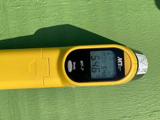 二度塗り後の表面温度54.6℃ 温度16.9℃下がる