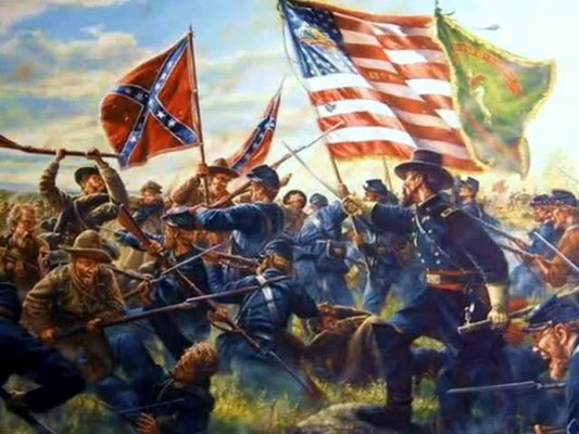 南北戦争の旗と戦士