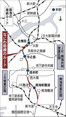 新大阪駅から梅北駅(大阪駅)中之島、本町駅、南海難波駅(新)、新今宮で南海に接続