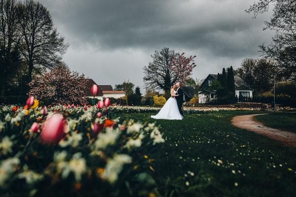 Hochzeitsfoto Brautpaar Wassermühle Sittensen